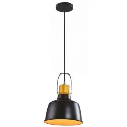 czarna lampa wisząca do kuchni z jasnym kloszem w środku