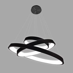 czarna lampa wisząca do salonu okręgi led
