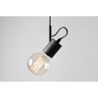 czarna lampa wisząca do sypialni bez klosza