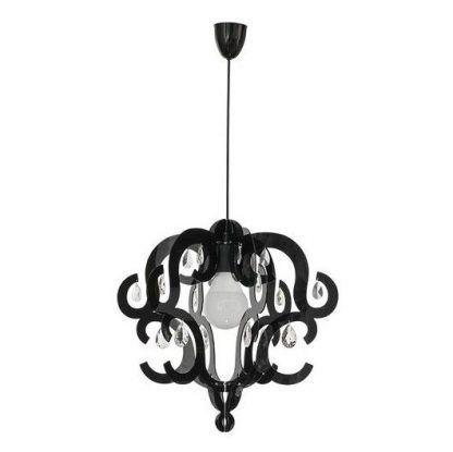 czarna lampa wisząca do sypialni glamour