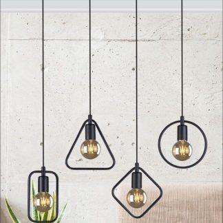 czarna lampa wisząca geometryczna salon aranżacja