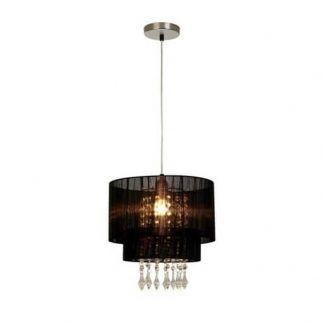 czarna lampa wisząca glamour z kryształkami