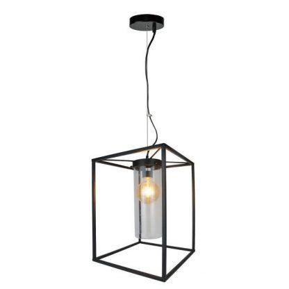 czarna lampa wisząca klatka do salonu