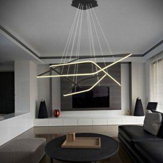 czarna lampa wisząca kwadraty led aranżacja salon