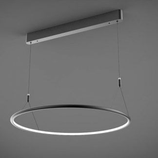 czarna lampa wisząca led duży okrąg do salonu