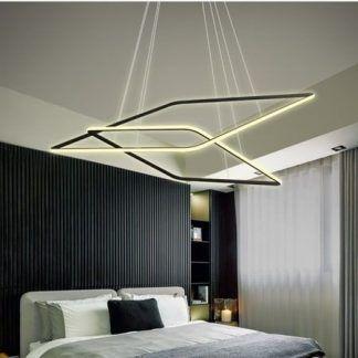 czarna lampa wisząca listwy led w sypialni aranżacja
