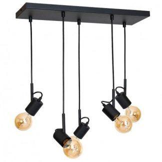 czarna lampa wisząca nad stół bez kloszy