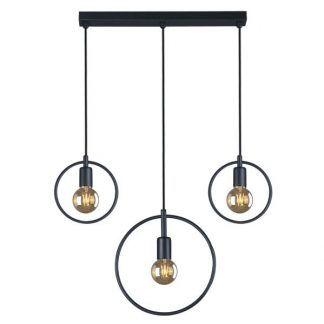 czarna lampa wisząca nad stół do jadalni scandi