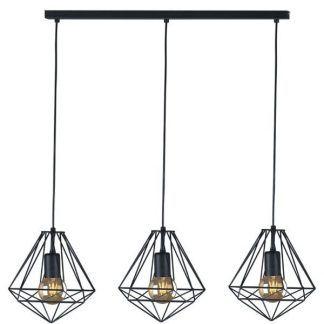 czarna lampa wisząca nad stół druciane diamenty