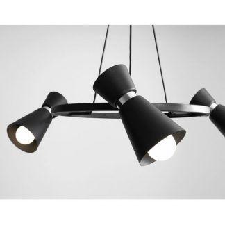 czarna lampa wisząca nad stół nowoczesna okrągła