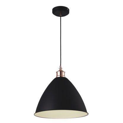 czarna lampa wisząca nowoczesna z białym środkiem i miedzią