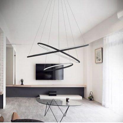 czarna lampa wisząca okręgi led aranżacja salon