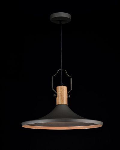 czarna lampa wisząca płaski klosz skandynawska
