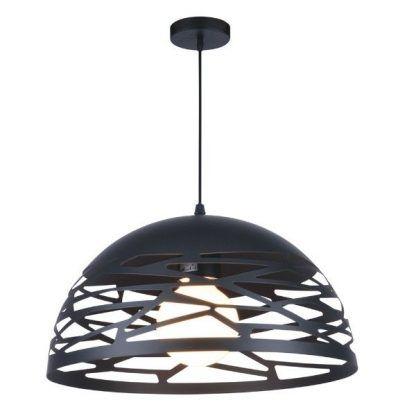 czarna lampa wisząca półkula z ażurowym wzorem