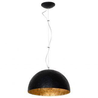 Czarna lampa wisząca półkula ze złotym wnętrzem