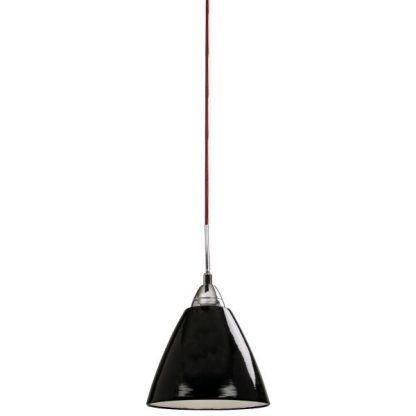 czarna lampa wisząca połysk czerwony przewód