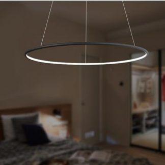 czarna lampa wisząca ring led nowoczesny