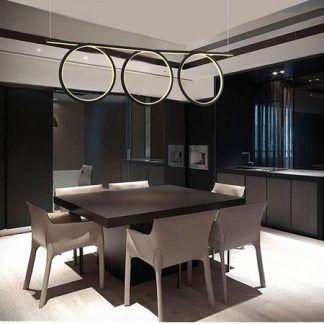 czarna lampa wisząca spirala led do kuchni aranżacja