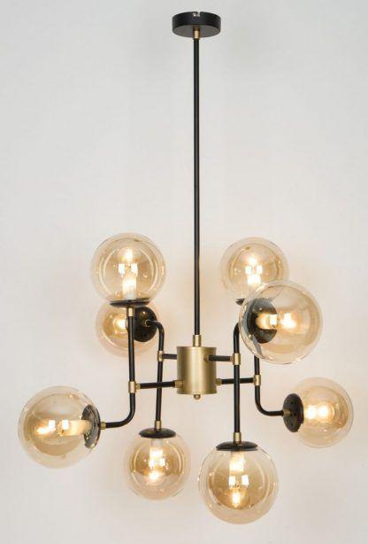 czarna lampa wisząca sputnik szklane klosze