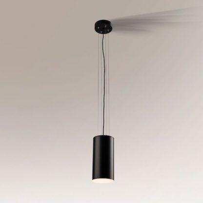 czarna lampa wisząca szeroka tuba nowoczesna