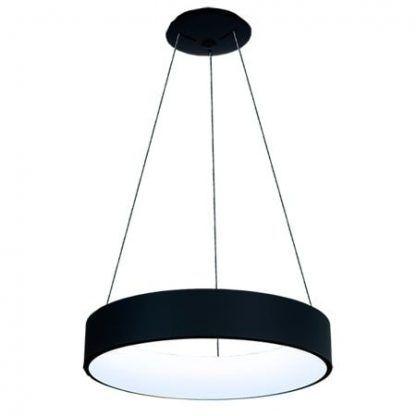 czarna lampa wisząca szeroki ring led nowoczesna
