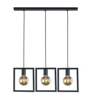 czarna lampa wisząca z ażurowymi kloszami geometryczna