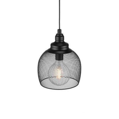 czarna lampa wisząca z drucianej siatki industrialna