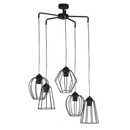 Czarna lampa wisząca z drucianymi kloszami do salonu
