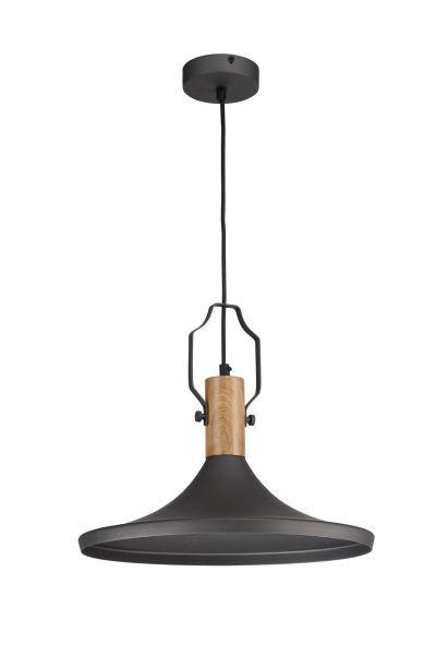 czarna lampa wisząca z dużym kloszem do salonu
