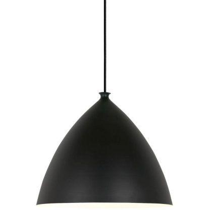 czarna lampa wisząca z dużym kloszem skandynawska