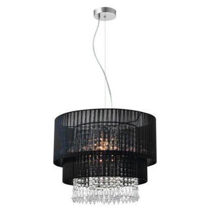 czarna lampa wisząca z kryształkami do salonu