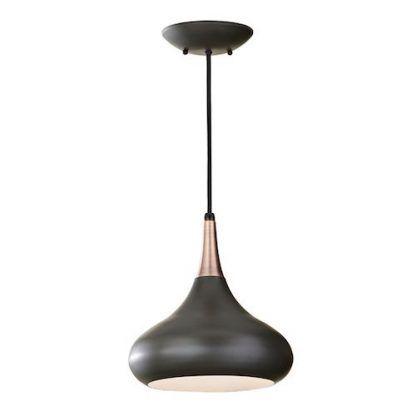czarna lampa wiszaca z miedzianym wykończeniem do kuchni