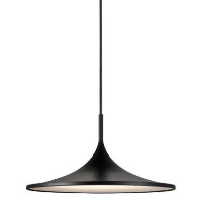 Czarna lampa wisząca z płaskim kloszem