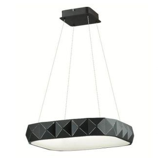 czarna lampa wisząca z płaskim kloszem nowoczesna