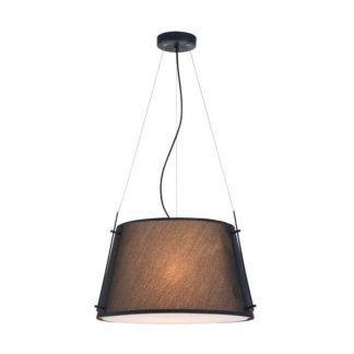 czarna lampa wisząca z szerokim kloszem
