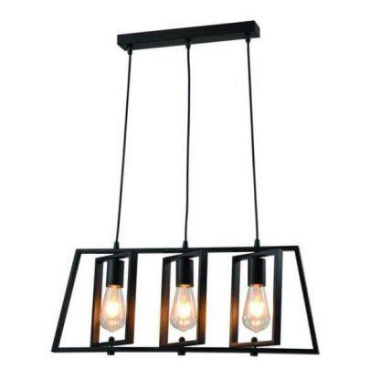 Czarna lampa wisząca z trzeba źródłami światła do kuchni