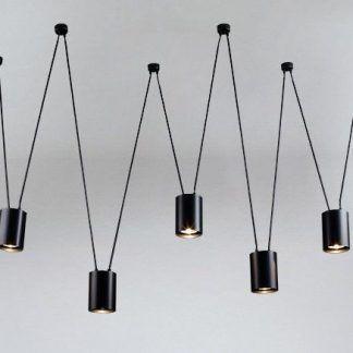 czarna lampa wisząca zawieszenia w zygzak