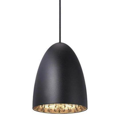 czarna lampa wisząca zdobiona w środku do biura