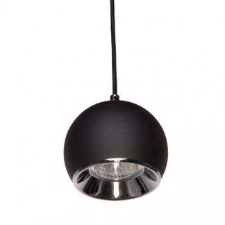 czarna lampa wisząca ze srebrnym środkiem do kuchni