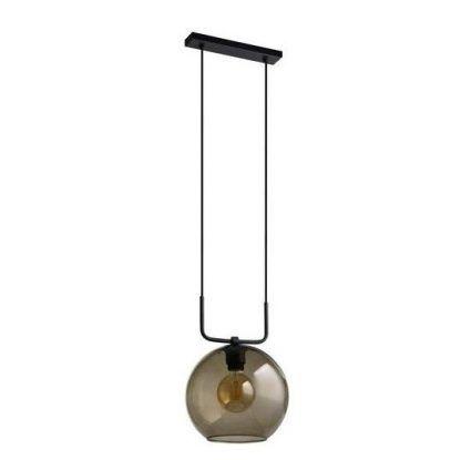 czarna lampa wisząca ze szklanym beżowym kloszem