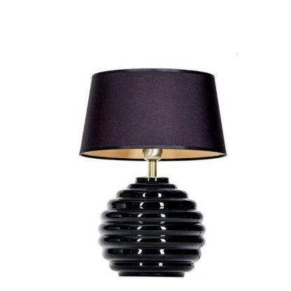 czarna lampa z abażurem ze szklaną podstawą