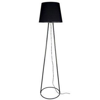 Czarna lampa z ażurową podstawą i abażurem do salonu