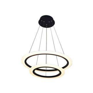 Czarna lampa z dwoma okręgami LED do kuchni