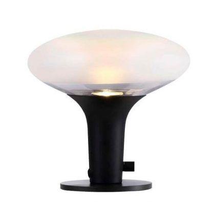 Czarna lampa z owalnym szklanym kloszem