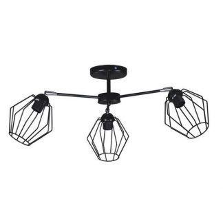 Czarna lampa z trzema drucianymi kloszami do salonu