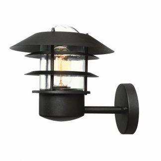 Czarna lampa zewnętrzna metalowa latarnia