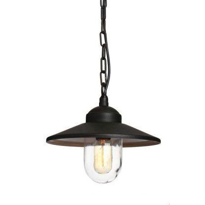 Czarna lampa zewnętrzna ze szklanym kloszem