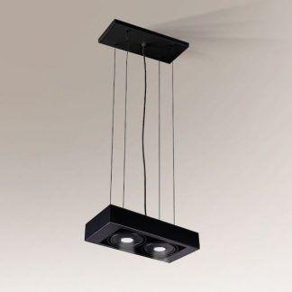 czarna lampa zwieszana na dwa światła