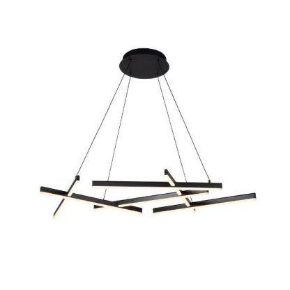 czarna ledowa lampa wisząca do salonu nowoczesna