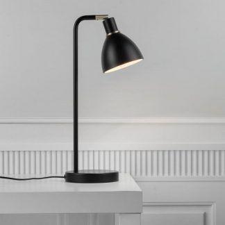 czarna metalowa lampa stołowa złote detale